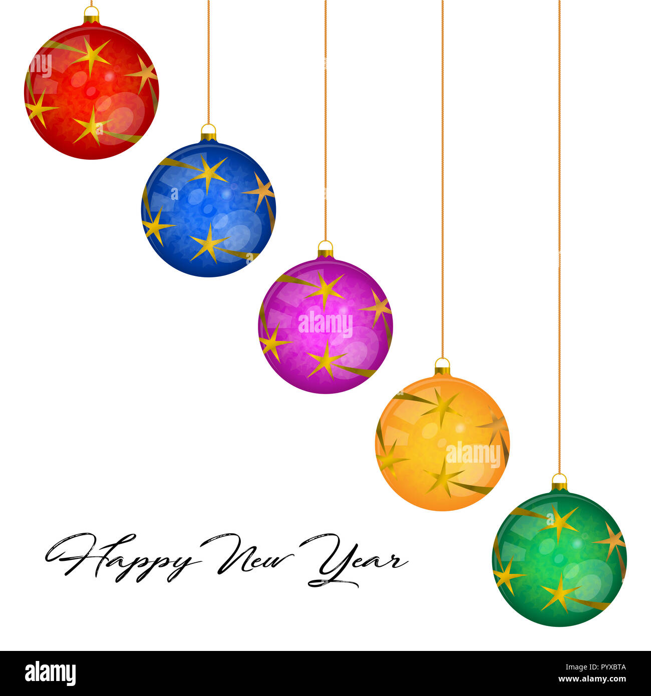 multicolored glass christmas balls greeting card template merry christmas and happy new year design elements resource for creating postcards calen