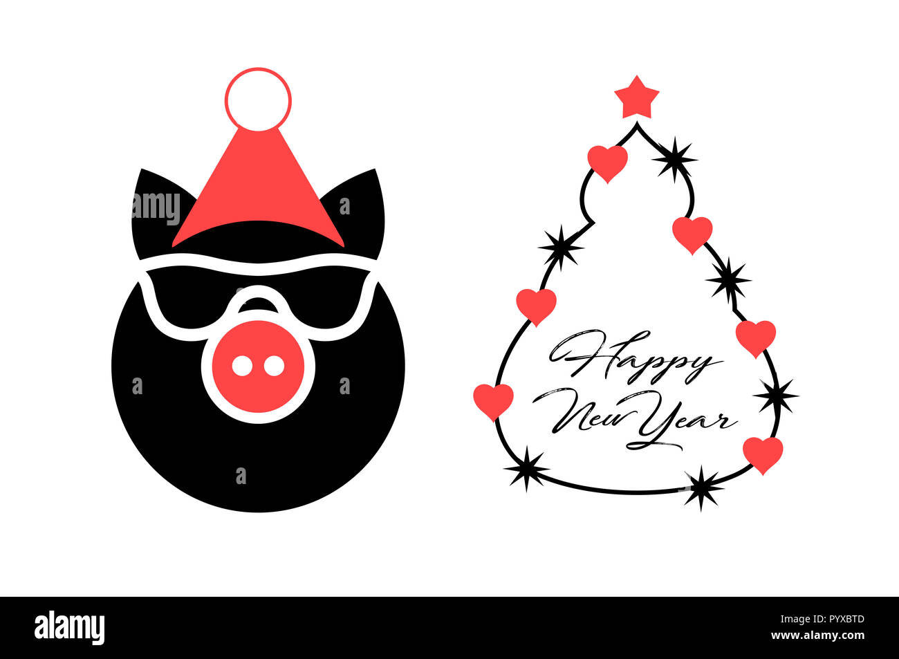 year of the pig 2019 christmas greeting card template merry christmas and happy new year design elements resource for creating postcards calenda