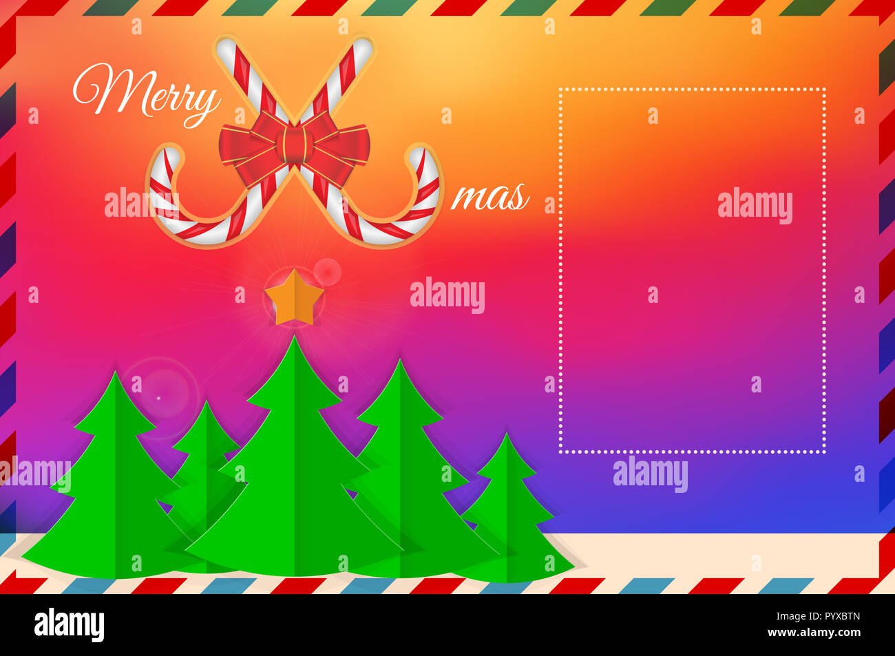 Bright Gradient, Fir-Trees. Christmas Greeting Card Template. Merry Christmas, Happy New Year Design Elements. Resource for Creating Postcards, Calend - Stock Image
