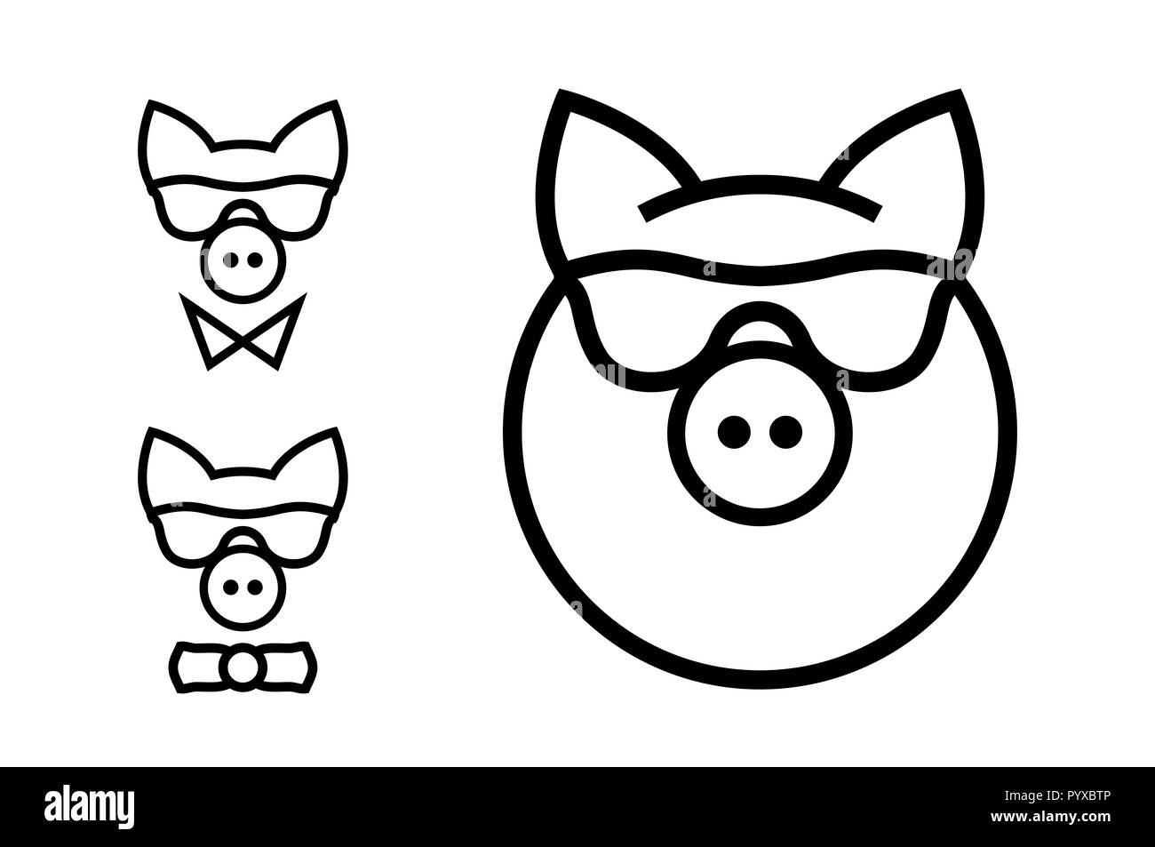 Fashionable Pig Minimalistic Icon. Year of the Pig - 2019. Merry Christmas and Happy New Year Design Elements. Resource for Creating Postcards, Calend - Stock Image