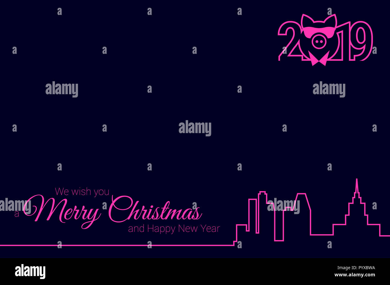 night city skyline and 2019 emblem greeting card template merry