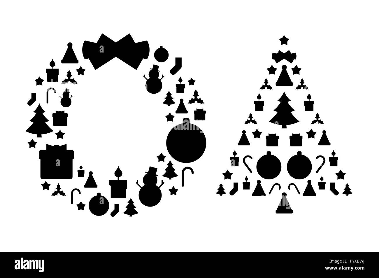Christmas Wreath Silhouette.Christmas Wreath And Christmas Tree Silhouettes Made Of