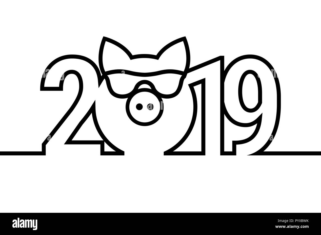 Pig Year 2019 Black and White Emblem. Symbol. Merry Christmas and Happy New Year Design Elements. Resource for Creating Postcards, Calendars or Poster - Stock Image
