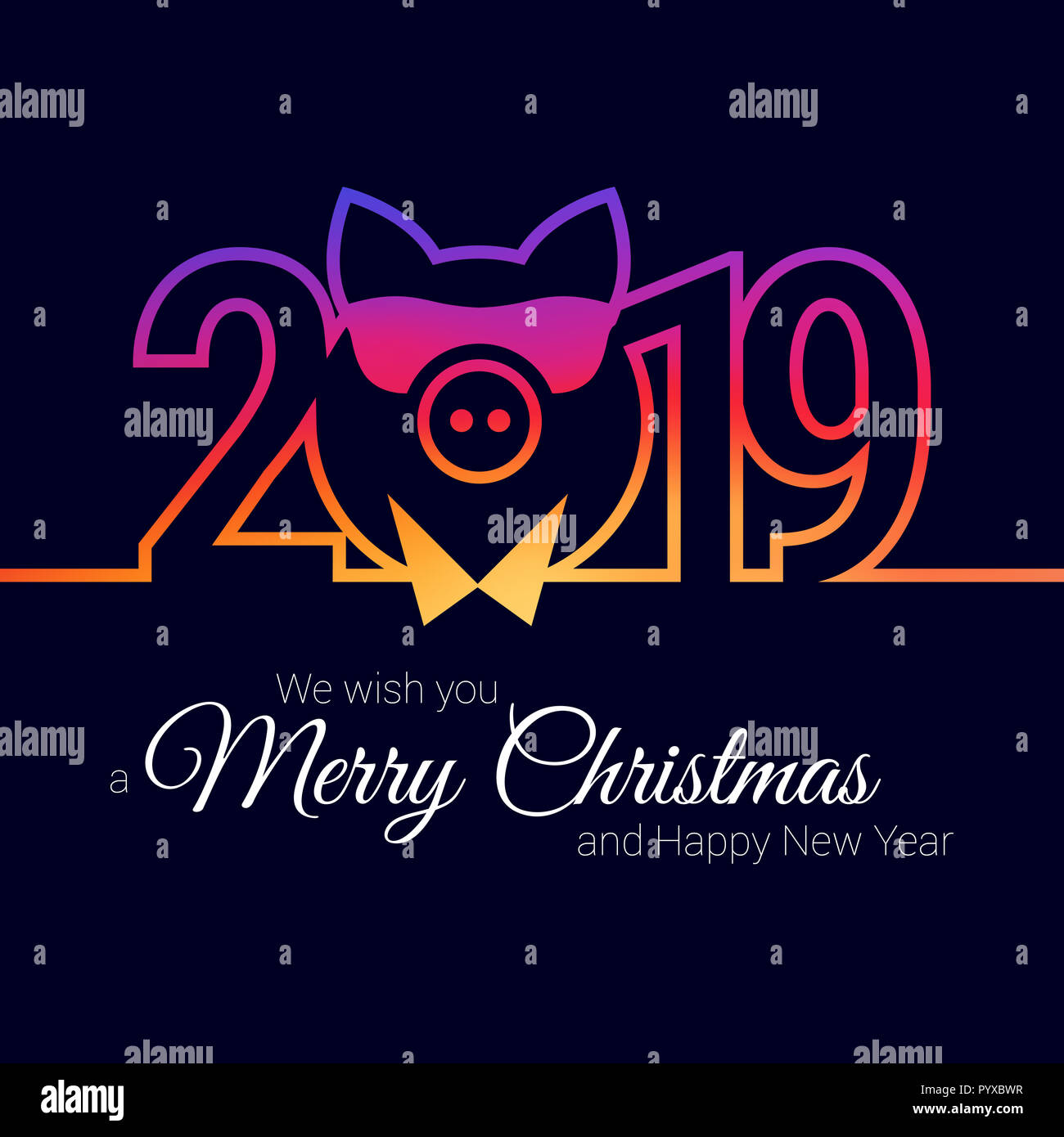 pig year 2019 stylish emblem christmas greeting card template merry christmas happy new year design elements resource for creating postcards cale