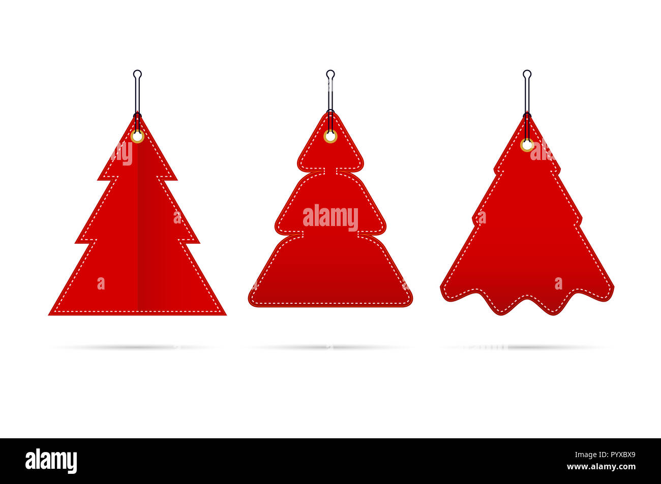 Red Blank Sale Tags In The Form Of Christmas Trees Of Different