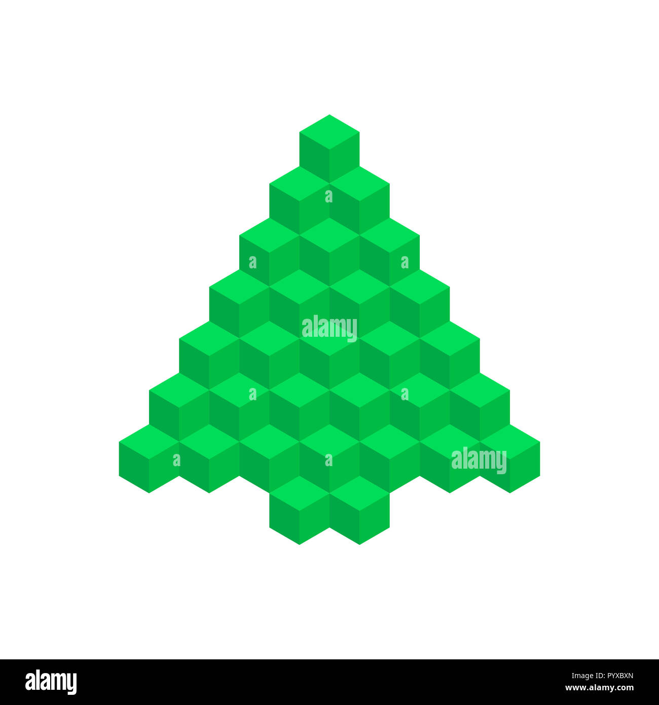 Geometric Christmas Tree. Merry Christmas and Happy New Year Design Element. Resource for Creating Postcards, Calendars or Posters, Presentations or B - Stock Image