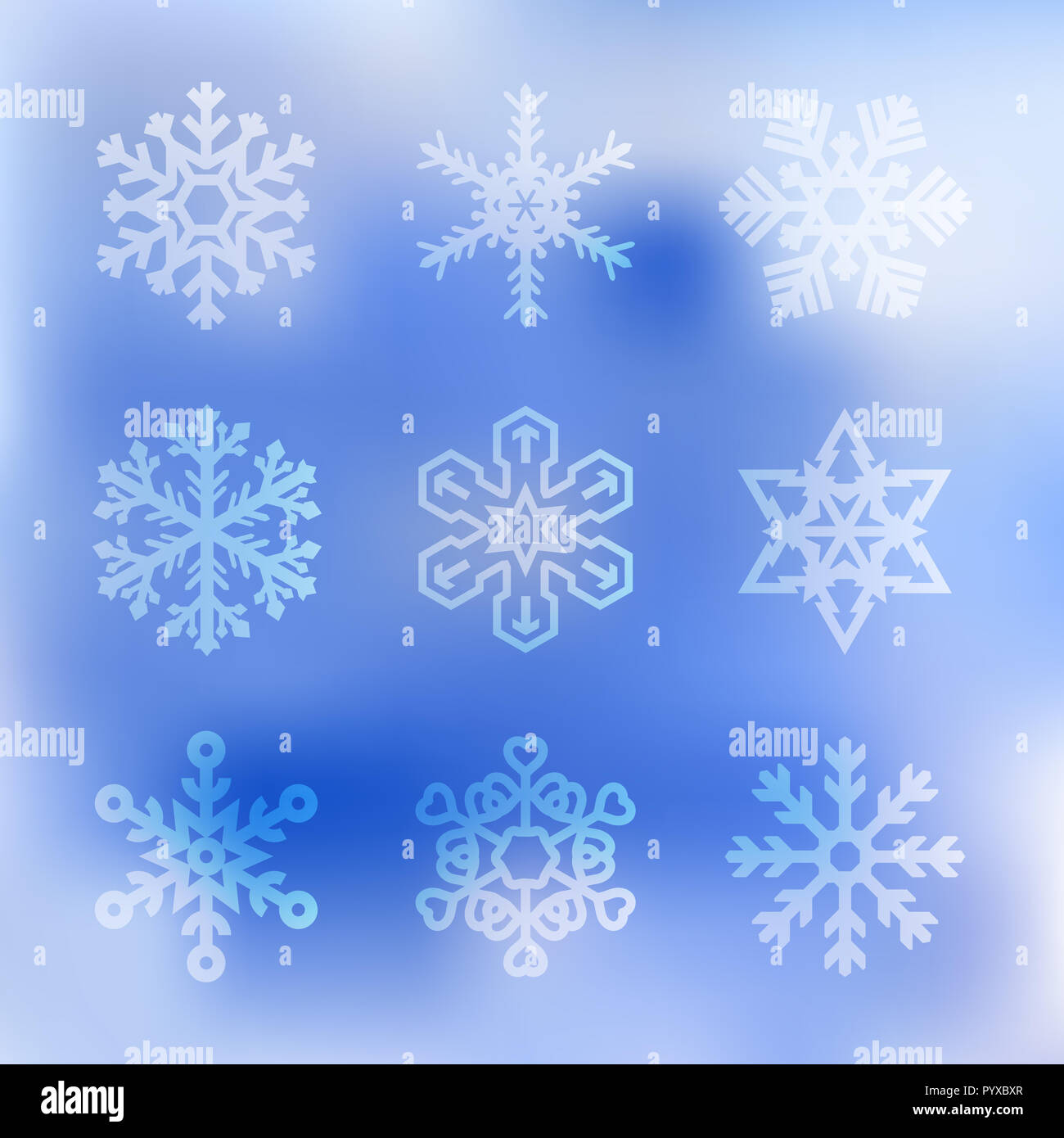 Set of Snowflakes of Different Shapes on a Blue Sky Background. Merry Christmas, Happy New Year Design Elements. Resource for Creating Postcards, Cale - Stock Image