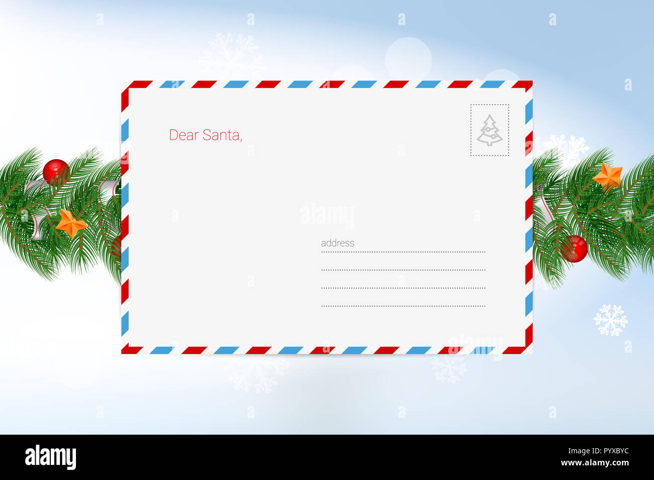 Santa Claus Letter. Christmas Greeting Card Template. Merry Christmas and Happy New Year Design Elements. Resource for Creating Postcards, Calendars o - Stock Image