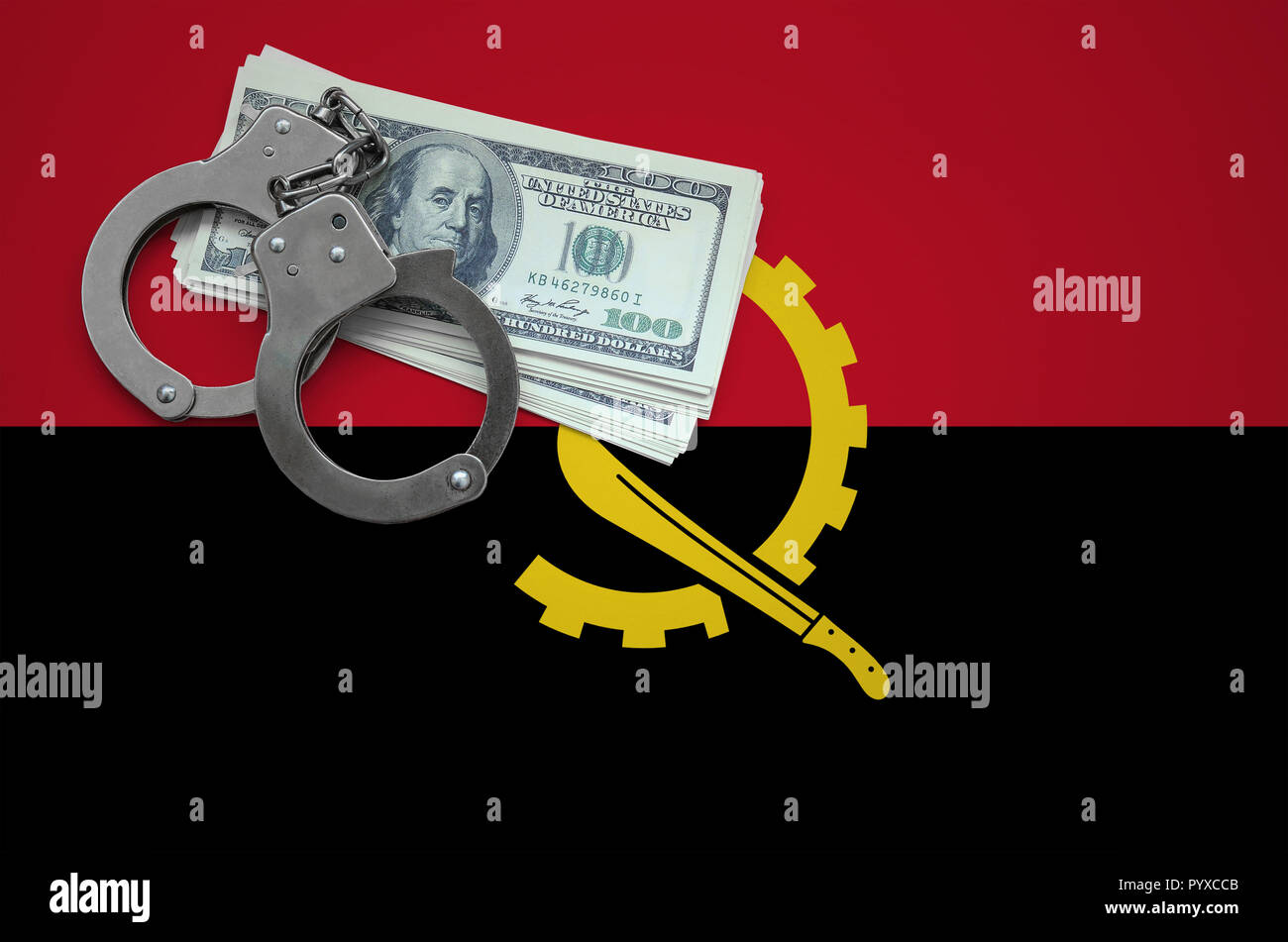 Angola flag  with handcuffs and a bundle of dollars. The concept of breaking the law and thieves crimes. - Stock Image