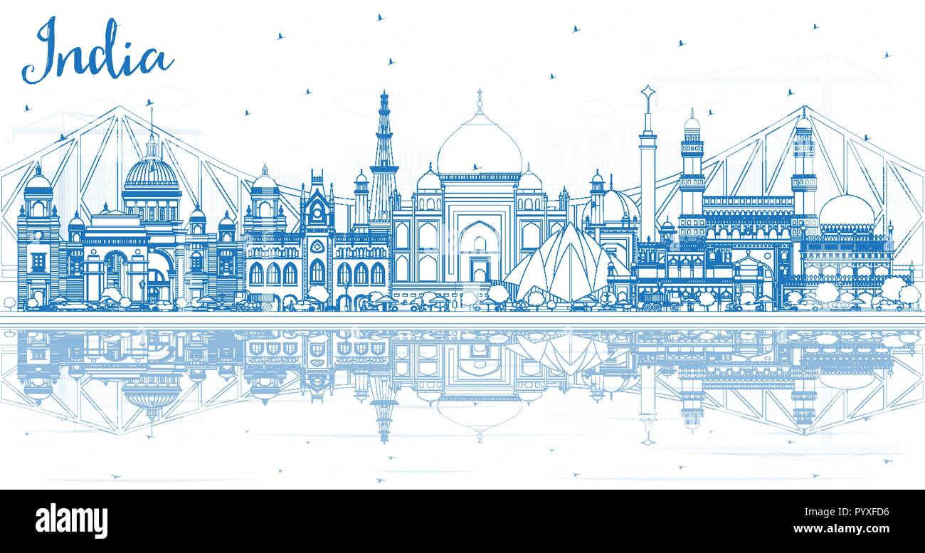 Outline India City Skyline with Blue Buildings and Reflections. Delhi. Hyderabad. Kolkata. Vector Illustration. Travel and Tourism Concept - Stock Vector