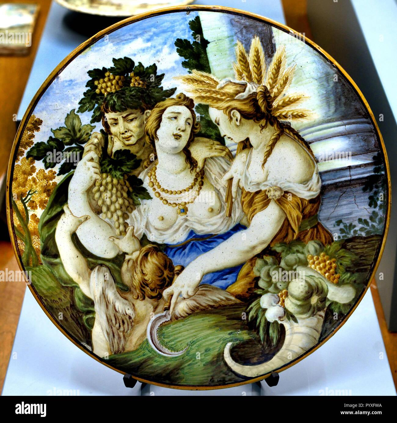 Tile with Venus, Bacchus and Ceres by Carmine Gentile, Castelli d` Abruzzo,  18th Century Museum of Ancient Art in the Castello Sforzesco - Sforza Castle in Milan Italy - Stock Image