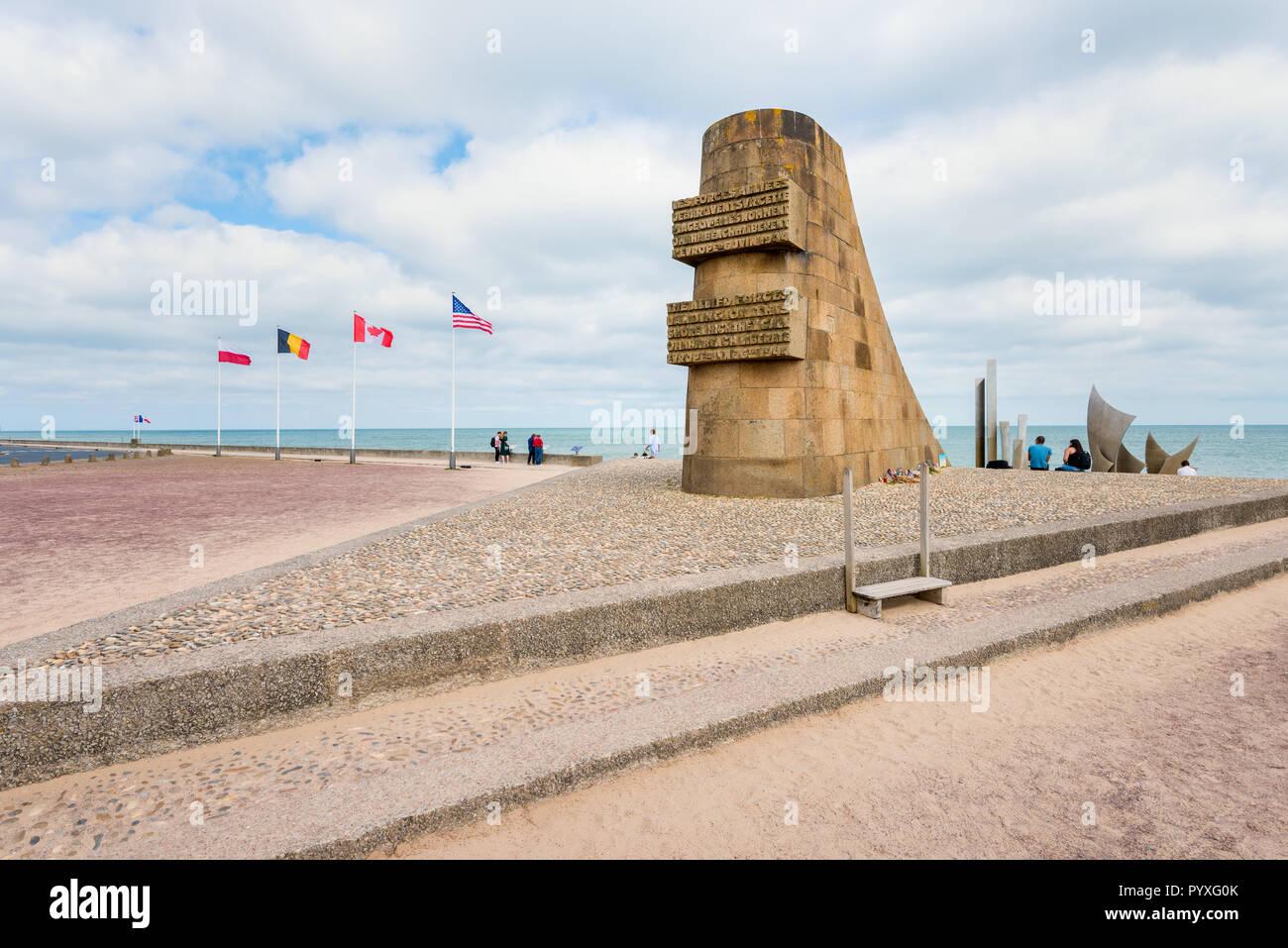 Omaha Beach Monument in Saint-Laurent-sur-Mer Normandy France - Stock Image