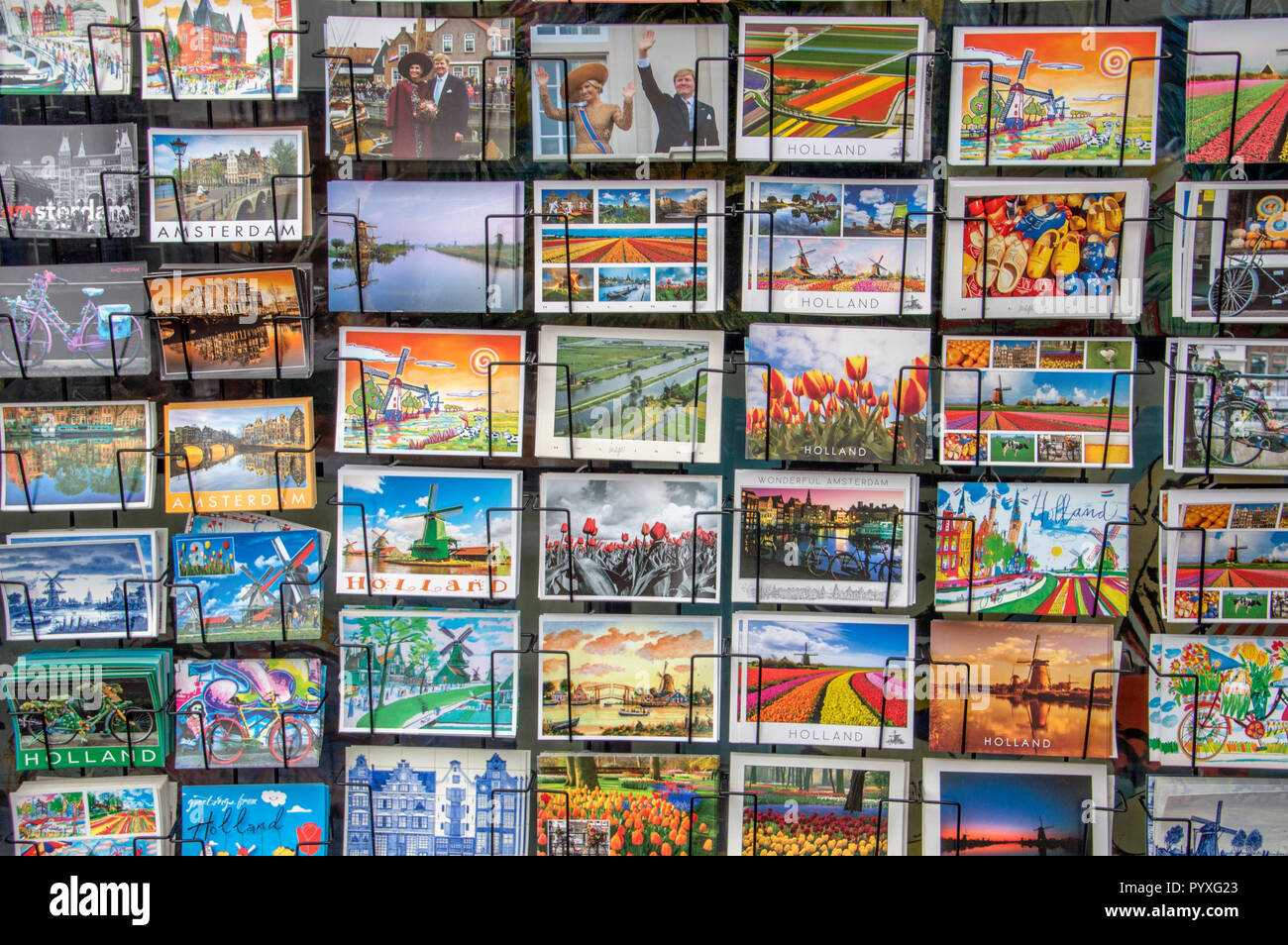 Selling Postcards At Amsterdam The Netherlands 2018 - Stock Image