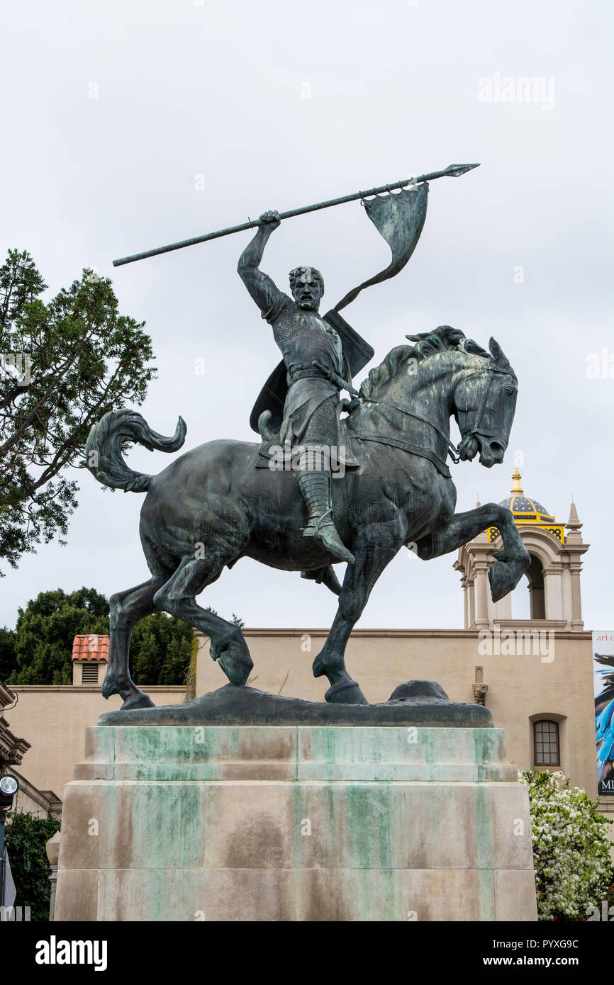 El Cid sculpture by artist Anna Hyatt Huntington, Balboa Park, San Diego, California. Stock Photo