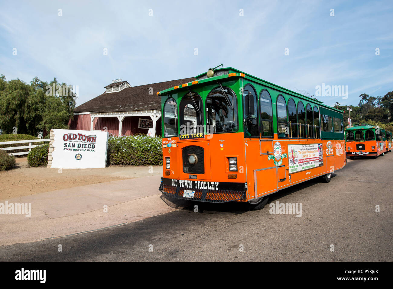 City Tour Trolley Old Town, San Diego, California. - Stock Image