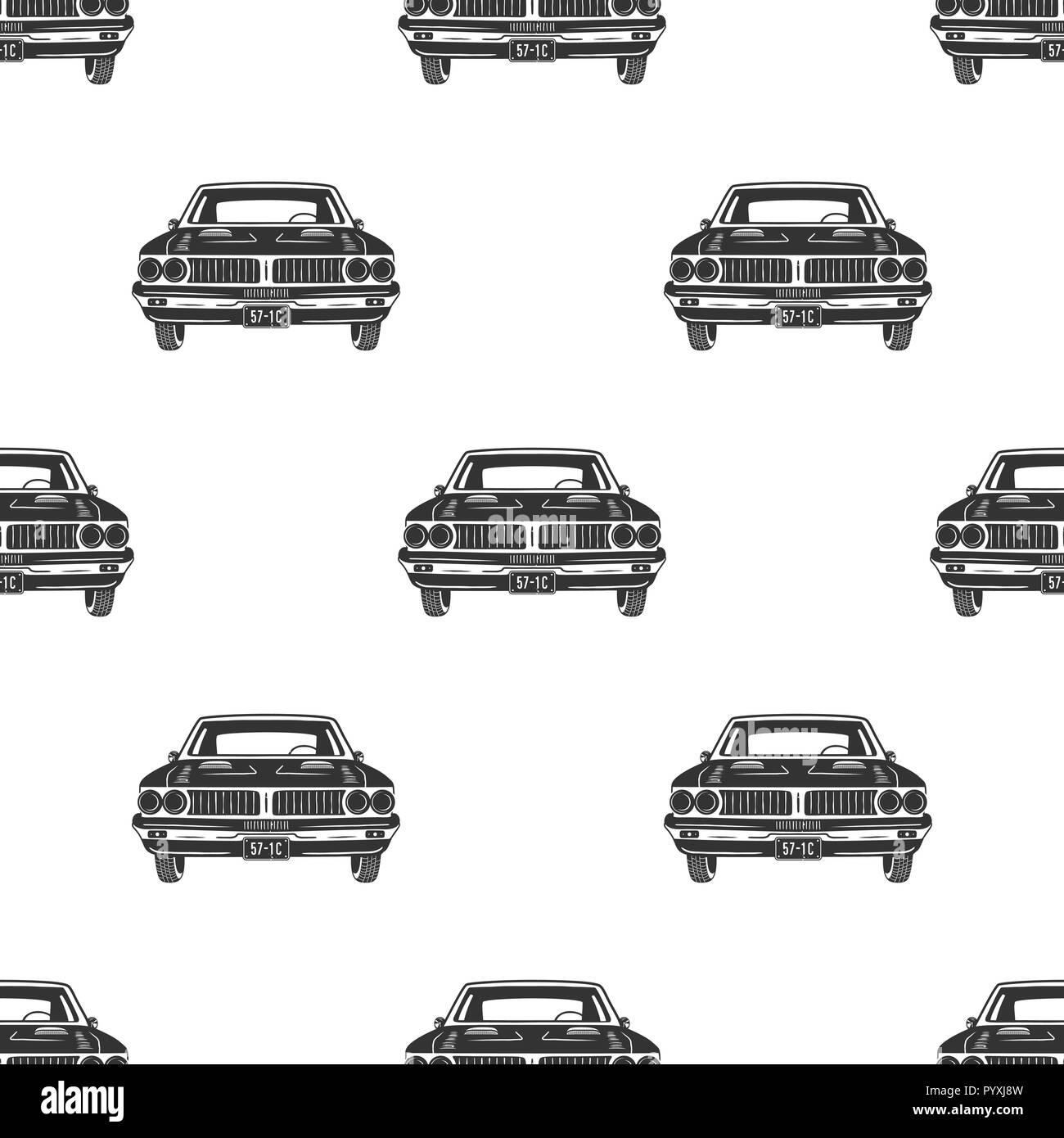 Retro Auto Seamless Vintage Car Pattern Background Automotive