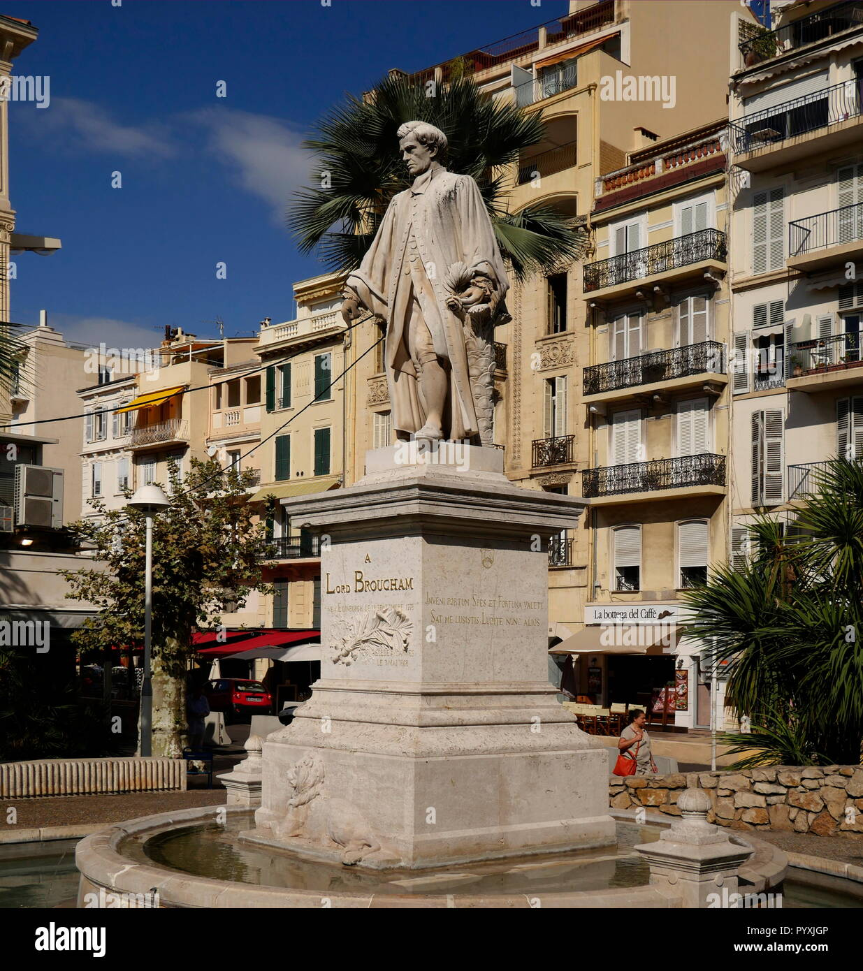 AJAXNETPHOTO. 2018. CANNES, FRANCE. - ENGLISH INFLUENCE - STATUE NEAR ALLEE DE LA LIBERTE OF ENGLISH ARISTOCRAT 1ST BARON LORD HENRY PETER BROUGHAM AND VAUX. PHOTO:JONATHAN EASTLAND/AJAX REF:GX8_182509_603 - Stock Image