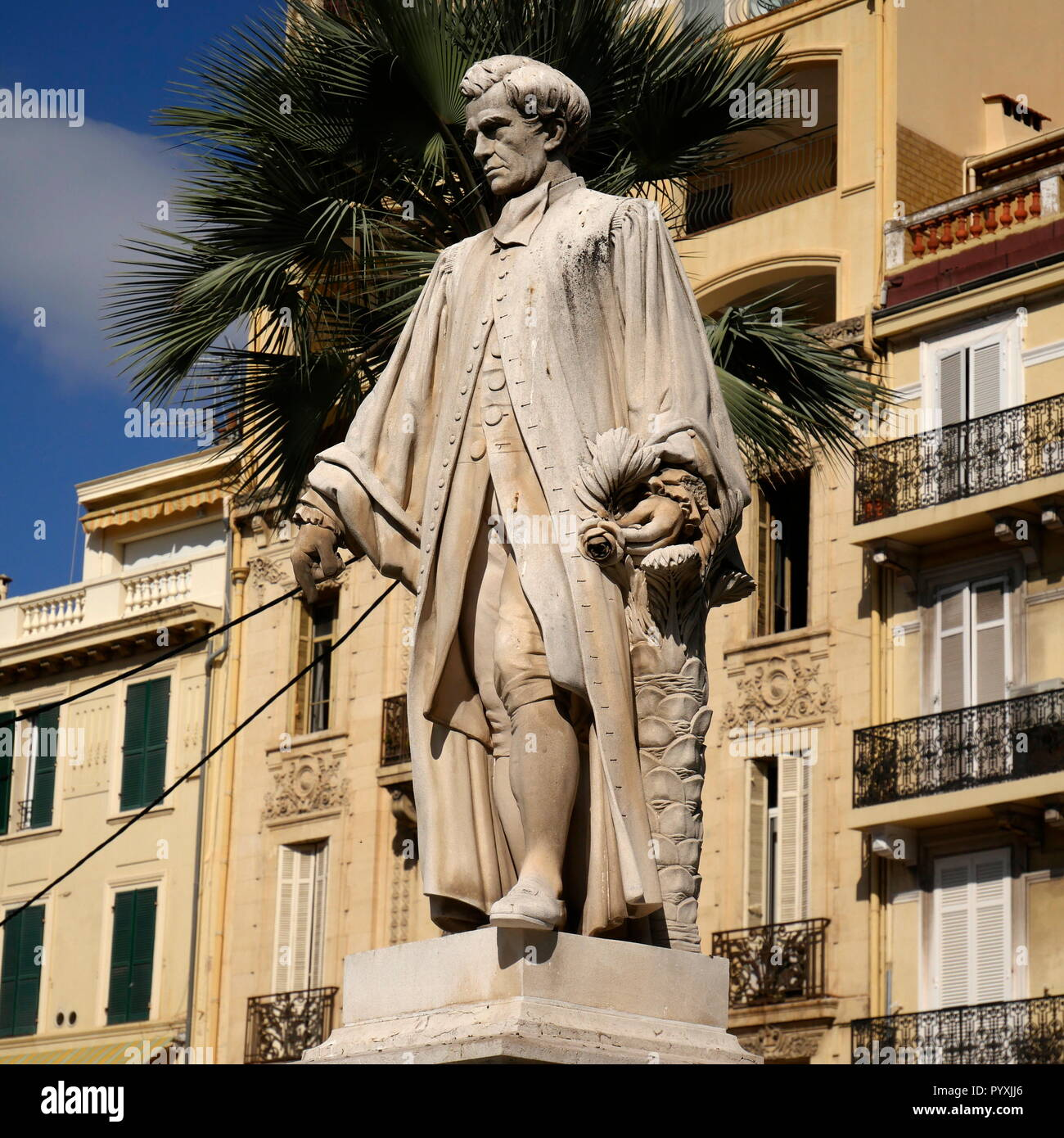 AJAXNETPHOTO. 2018. CANNES, FRANCE. - ENGLISH INFLUENCE - STATUE NEAR ALLEE DE LA LIBERTE OF ENGLISH ARISTOCRAT 1ST BARON LORD HENRY PETER BROUGHAM AND VAUX. PHOTO:JONATHAN EASTLAND/AJAX REF:GX8_182509_605 - Stock Image
