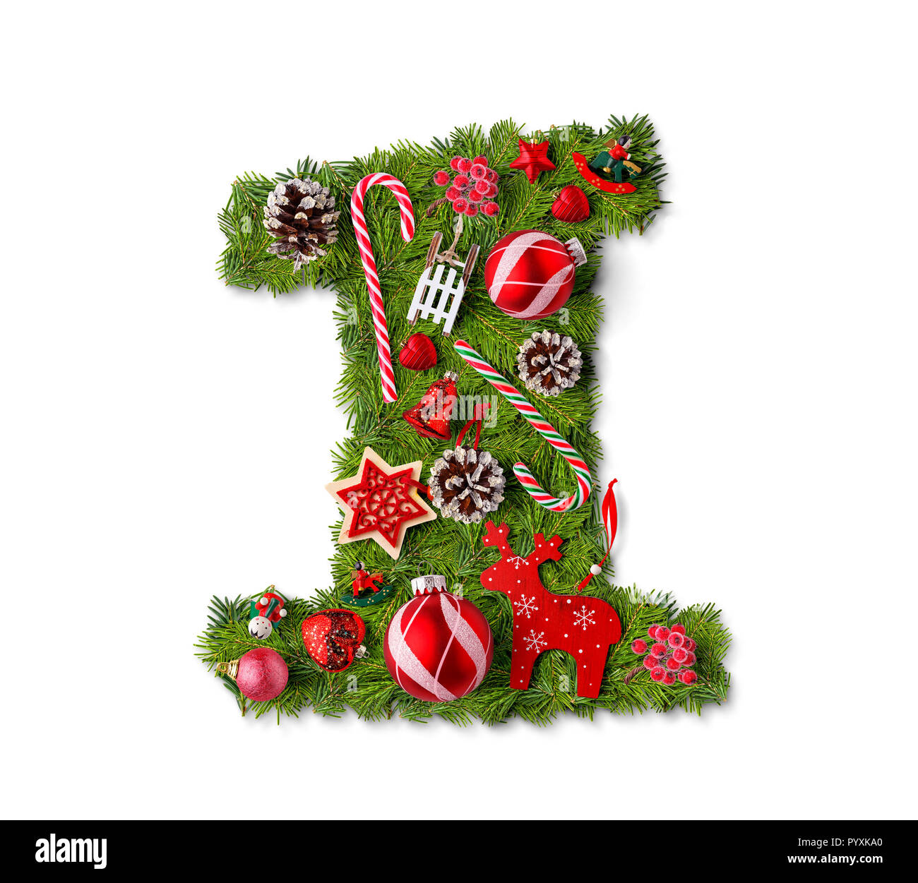 Number 1 Christmas Tree Decoration On A White Background Stock