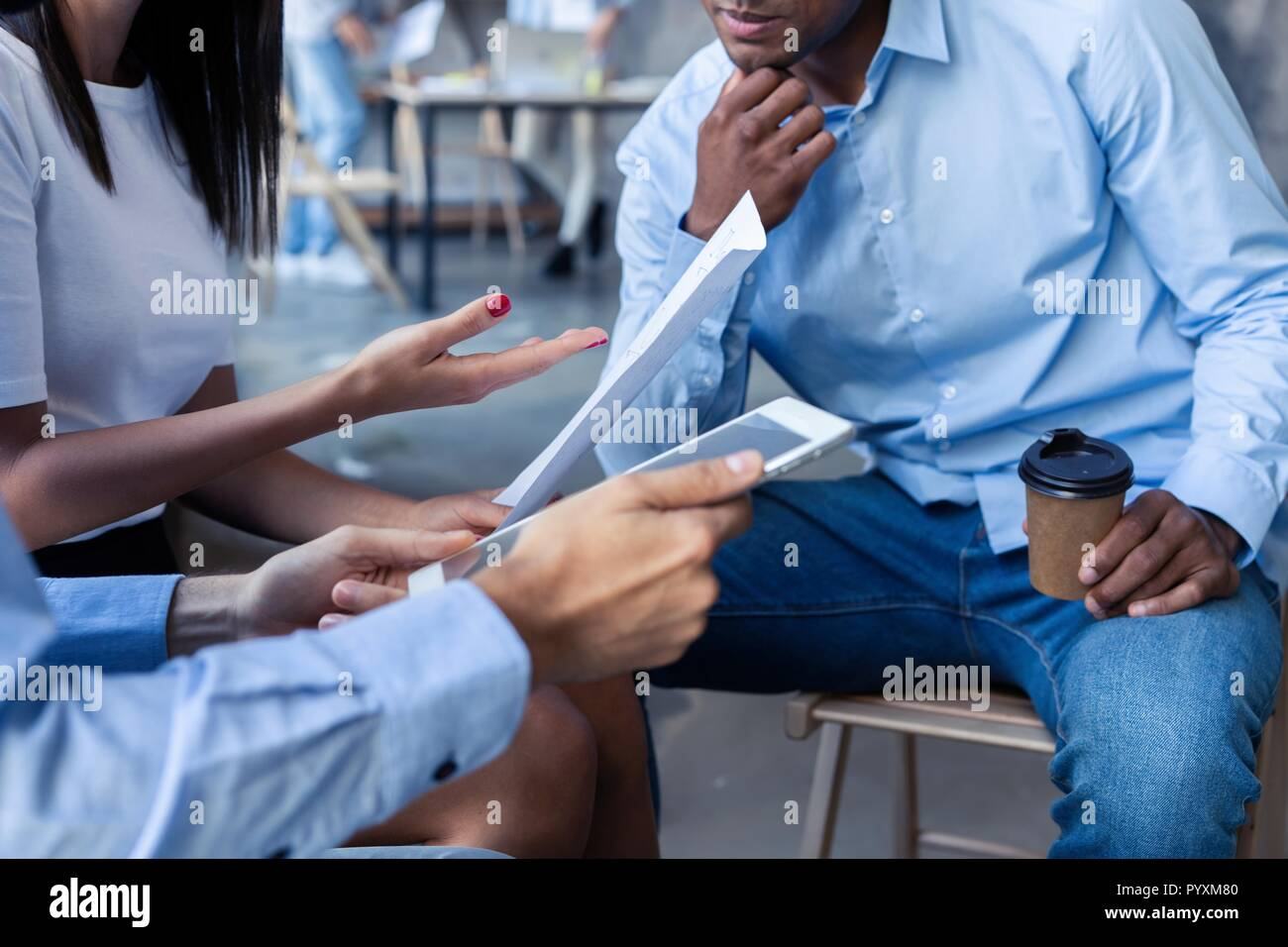 Business team analyzing income charts and graphs with modern laptop computer. Close up.Business analysis and strategy concept - Stock Image