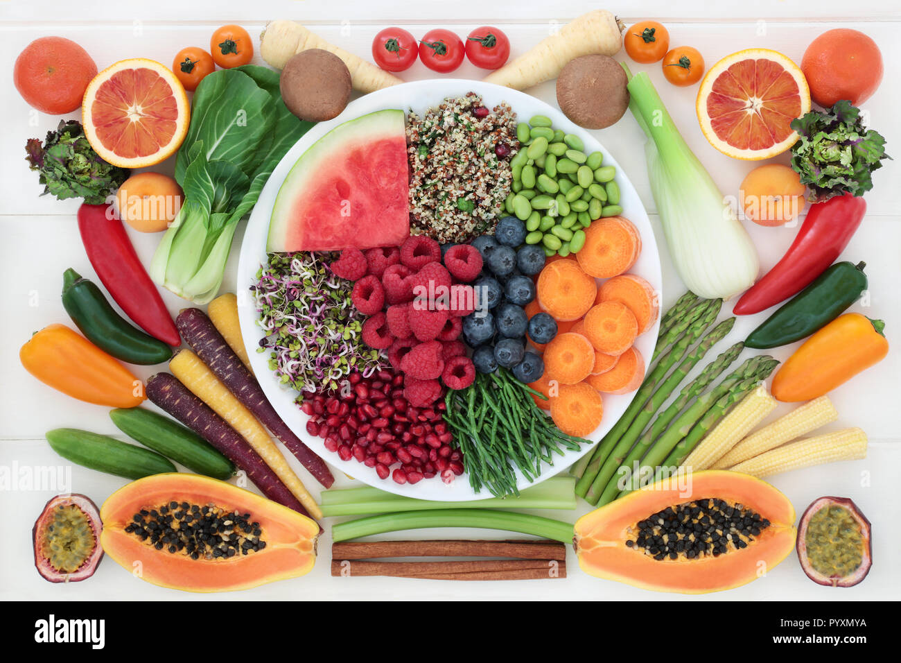 Healthy Food Choice With Superfood Of Fresh Fruit Vegetables Mixed Salad Grains And Spice Very High In Protein Antioxidants Vitamins Stock Photo Alamy