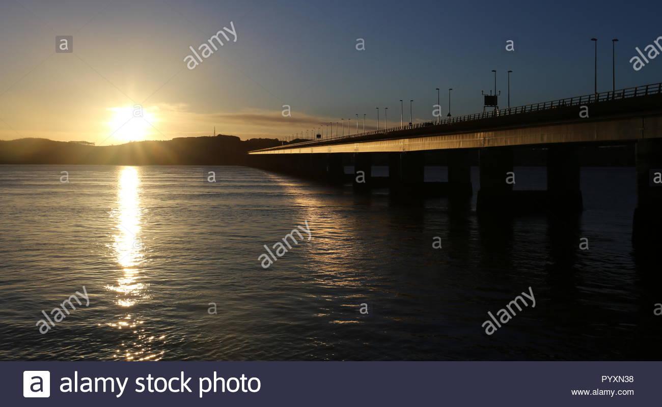 Tay Road Bridge at dawn Dundee Scotland  October 2018 - Stock Image