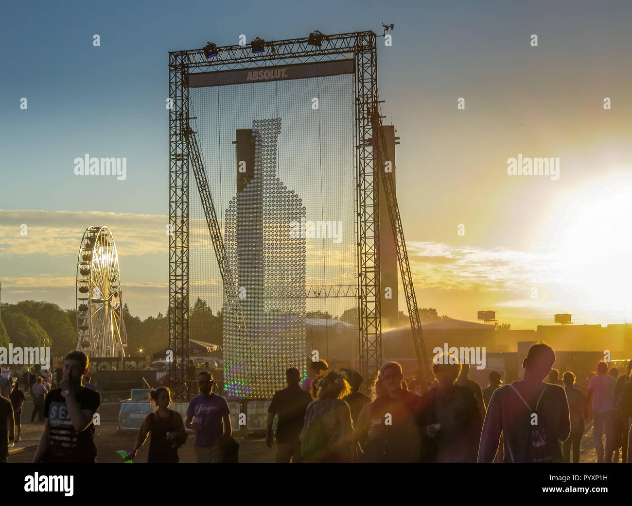 Advertisement Absolutely vodka, Lollapalooza festival, Olympic stadium, Westend, Berlin, Germany, Werbung Absolut Wodka, Lollapalooza-Festival, Olympi - Stock Image