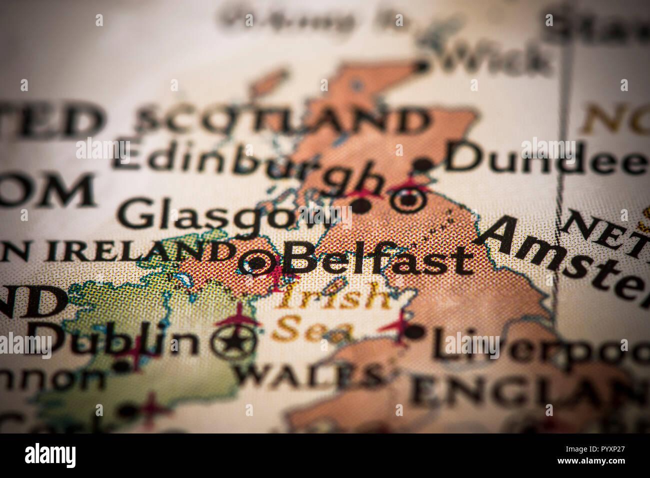 Closeup Of Belfast Ireland On A World Map Stock Photo 223708191