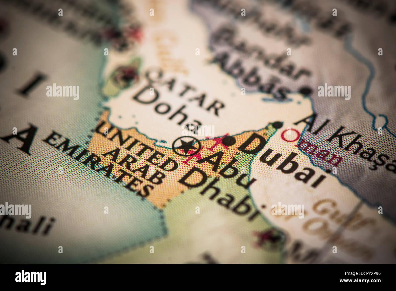Dubai and United Arab Emirates on a world map. - Stock Image