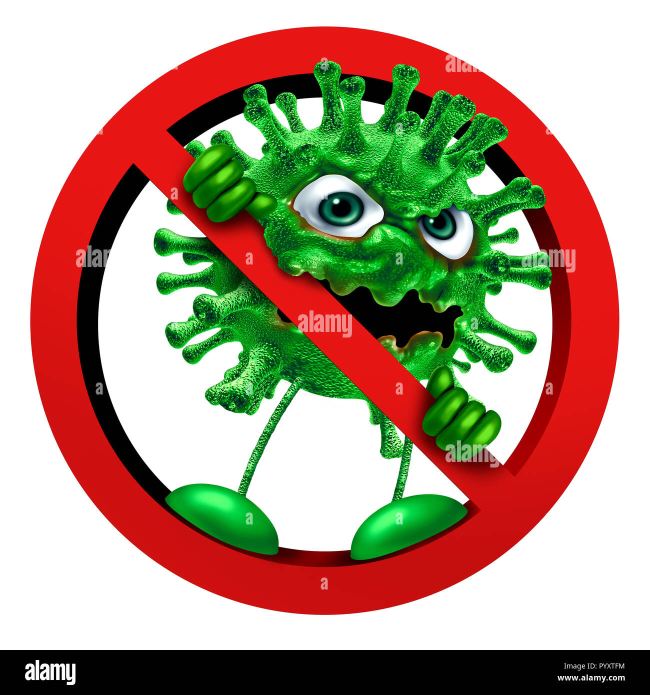 Stop virus sign immunity symbol as a pathogen character in a ban or banned icon as a vaccination or hygiene health idea as a 3D render. - Stock Image