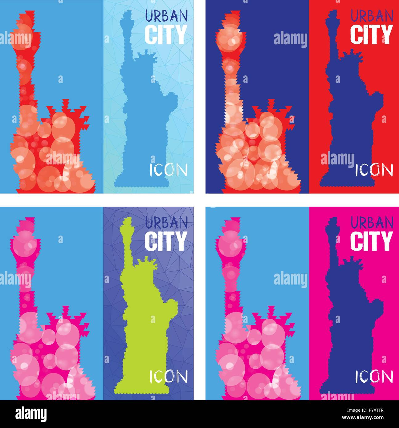 Set of Four Abstract Silhouettes of Statue of Liberty Triangulated. Triangled background. United States famous travel landmark. Colorful polygonal mon Stock Vector