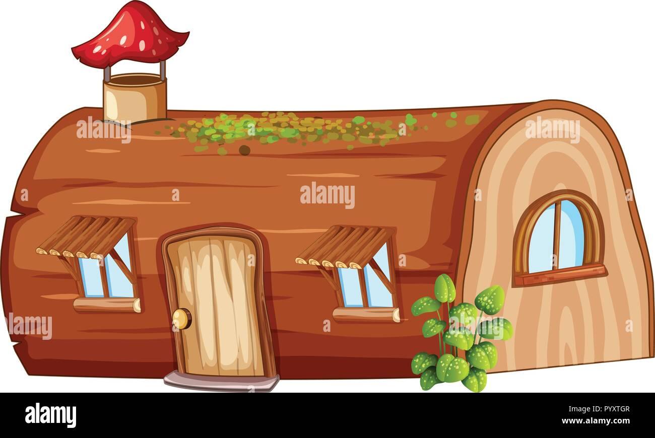 Log house on white background illustration - Stock Vector