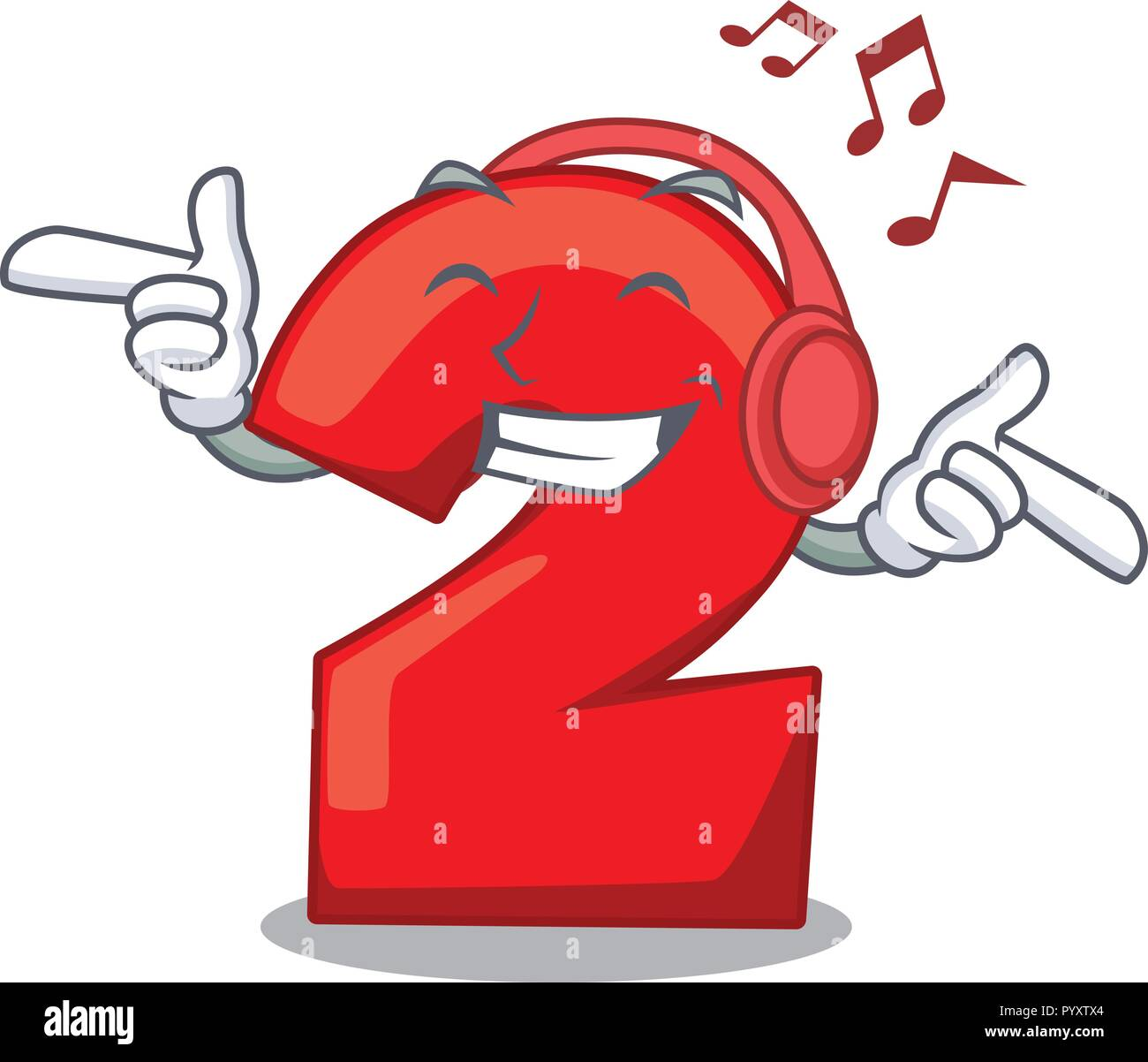Listening Music Cartoon Cake Birthday Candle Number Two