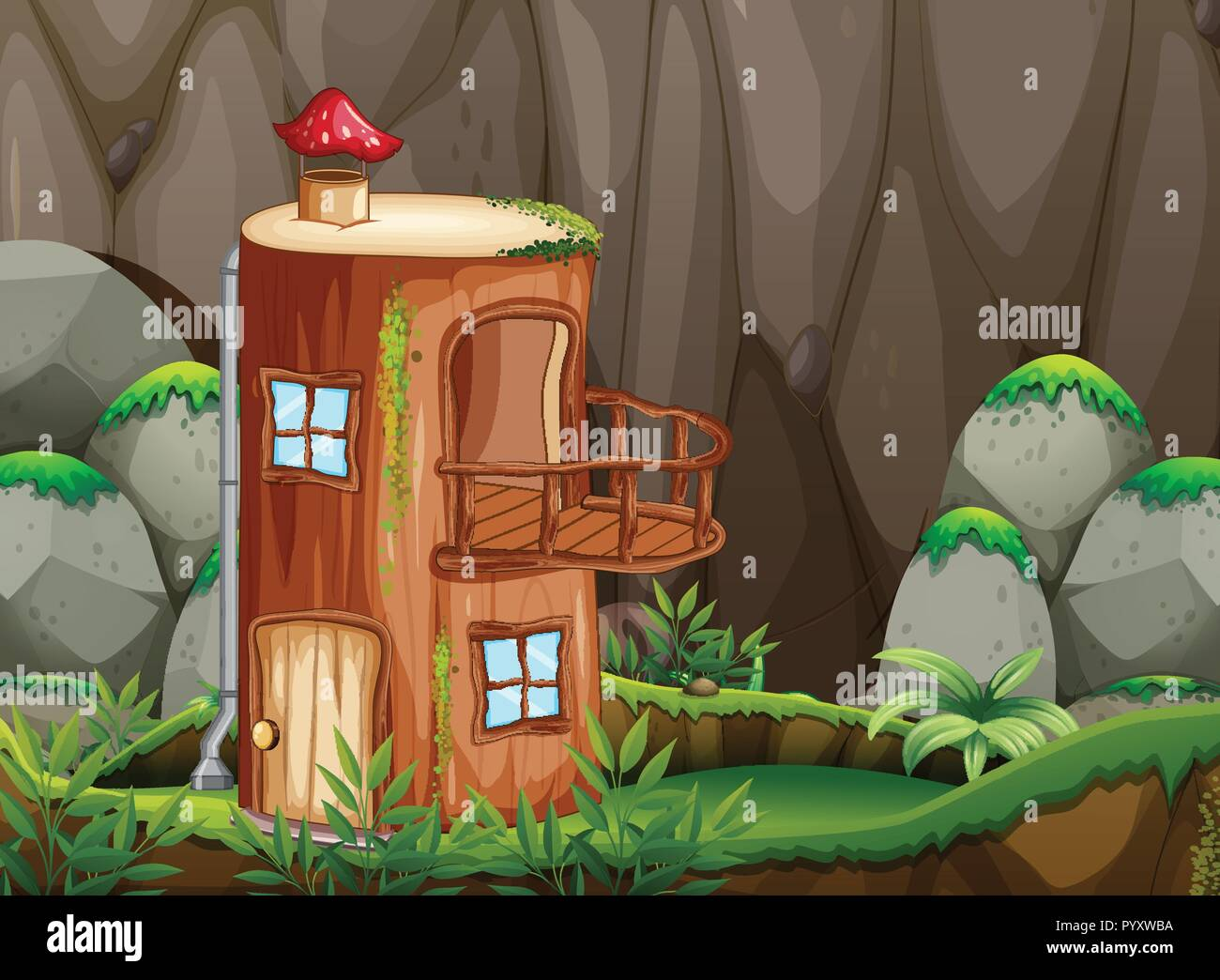 Log house in nature illustration - Stock Vector