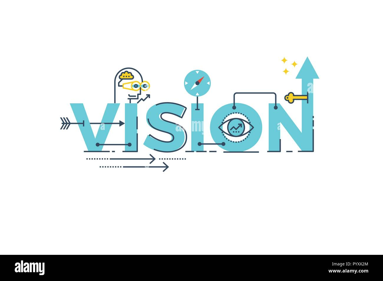 business vision word lettering typography design illustration with