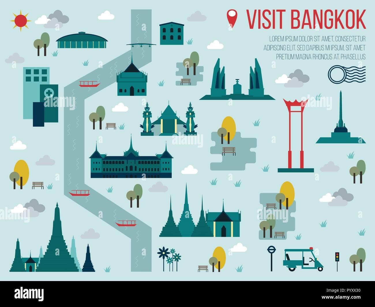 Illustration of Visit Bangkok Travel Map Concept - Stock Image