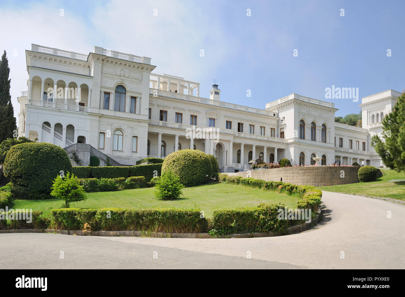 Angle View of Livadia Palace from Amazing Park - Stock Image