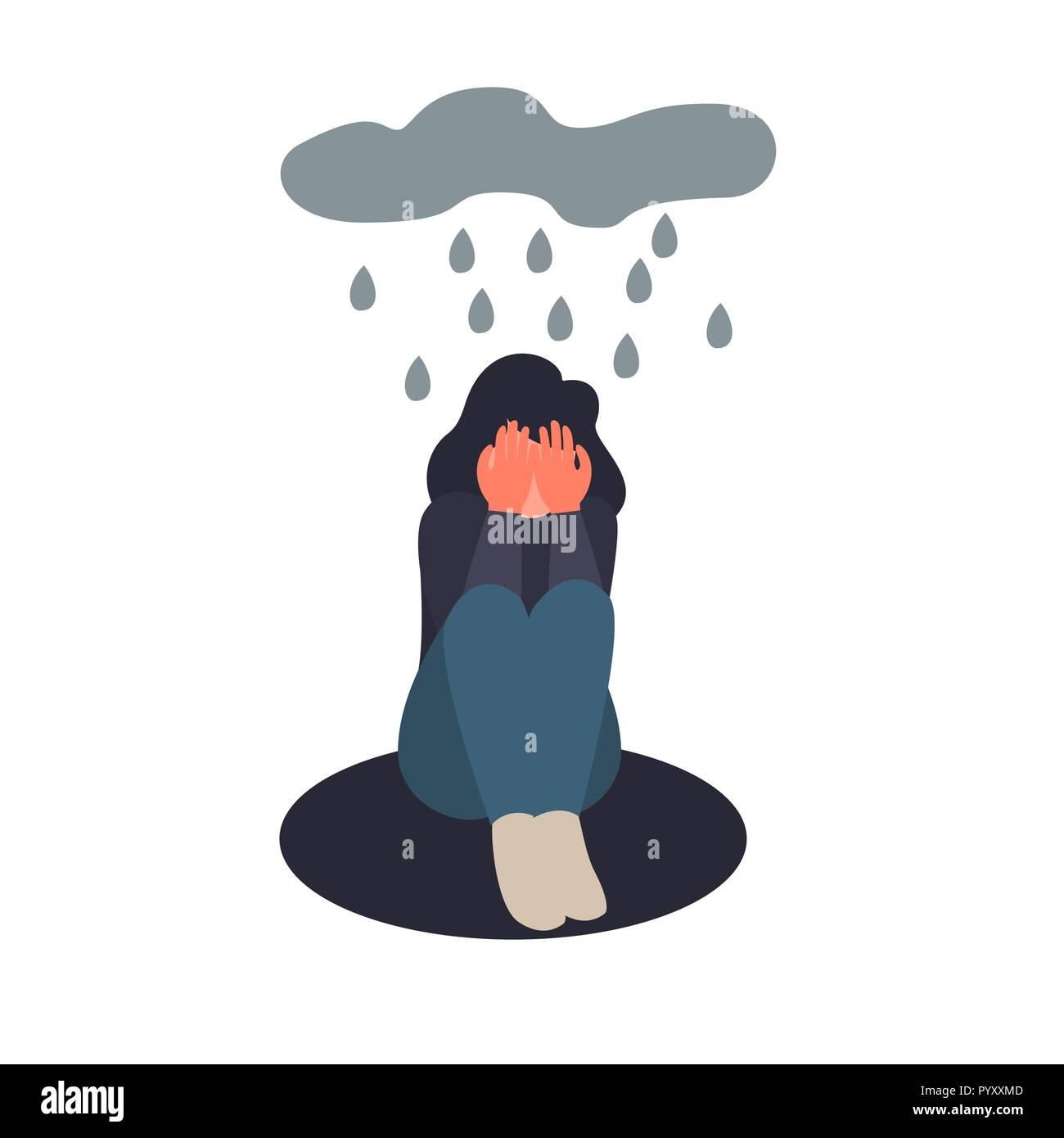 Depression woman sit on the floor. Depressed girl crying covering her face with her hands. Sad female flat character sits in the rain - Stock Vector