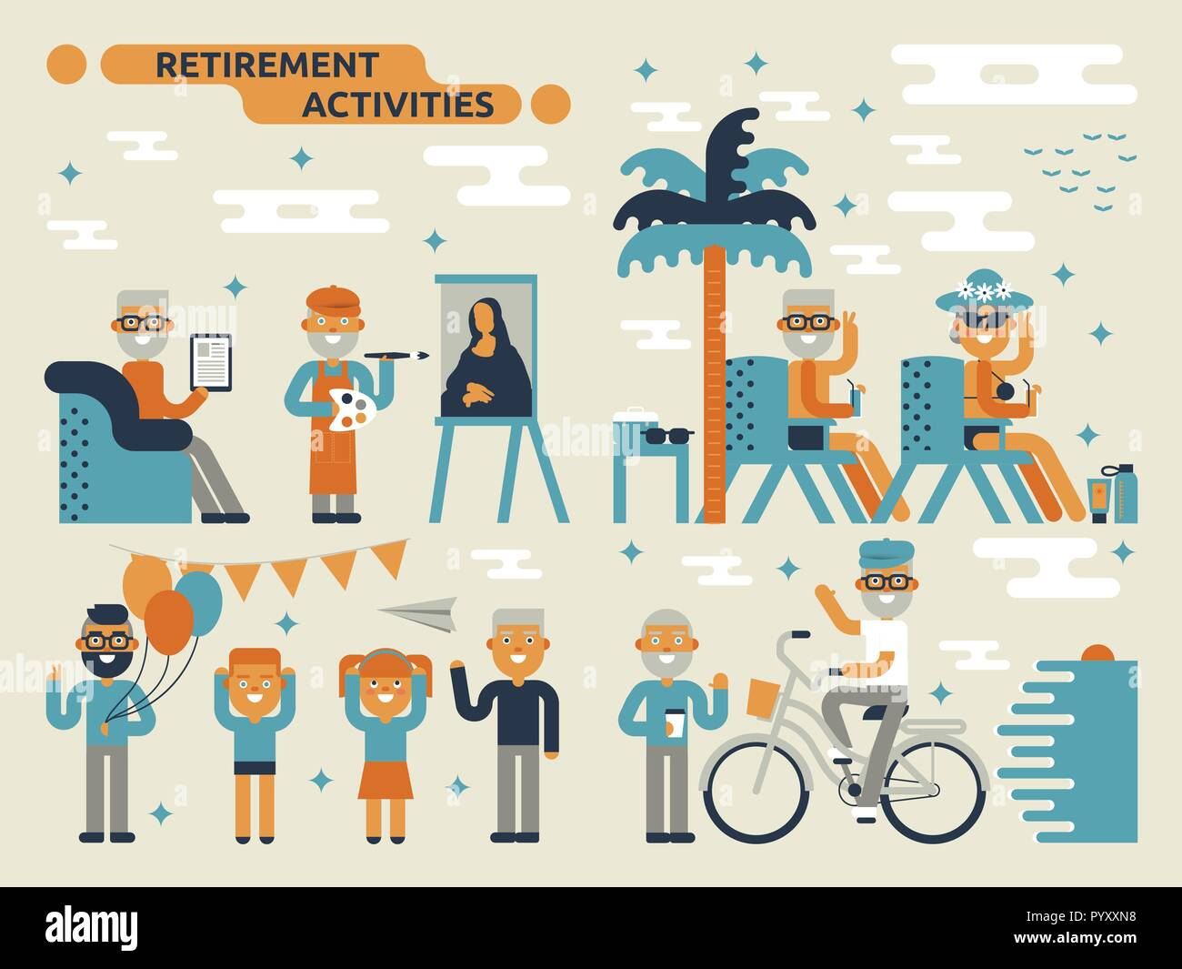 Illustration of retirement activities concept with many elderly characters - Stock Vector