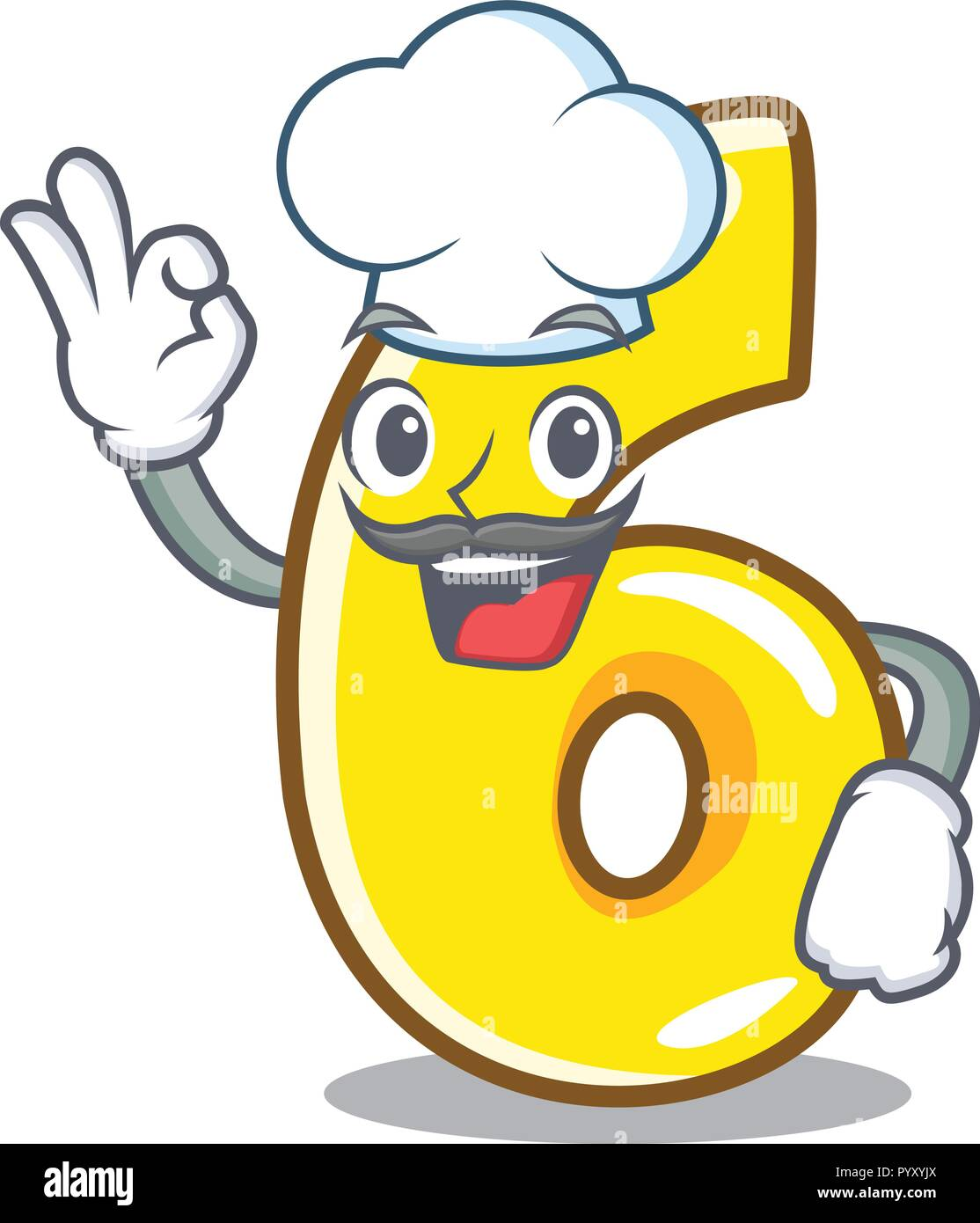 Chef Cartoon Number Six On The Road Stock Vector Image Art Alamy
