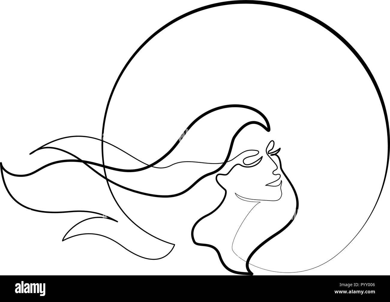 Continuous one different wide line drawing abstract portrait of pretty young woman with beautiful hair in round vector illustration