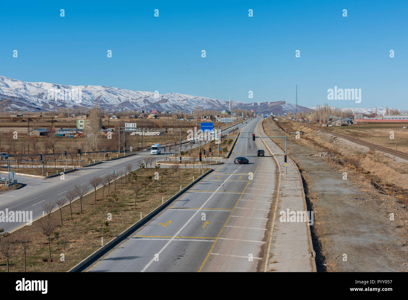 MUS CITY, TURKEY, DECEMBER 03, 2016; Road between Mus and Bitlis. The way out of the city of Mus province. Mus and Bitlis, Turkey is an important two - Stock Image