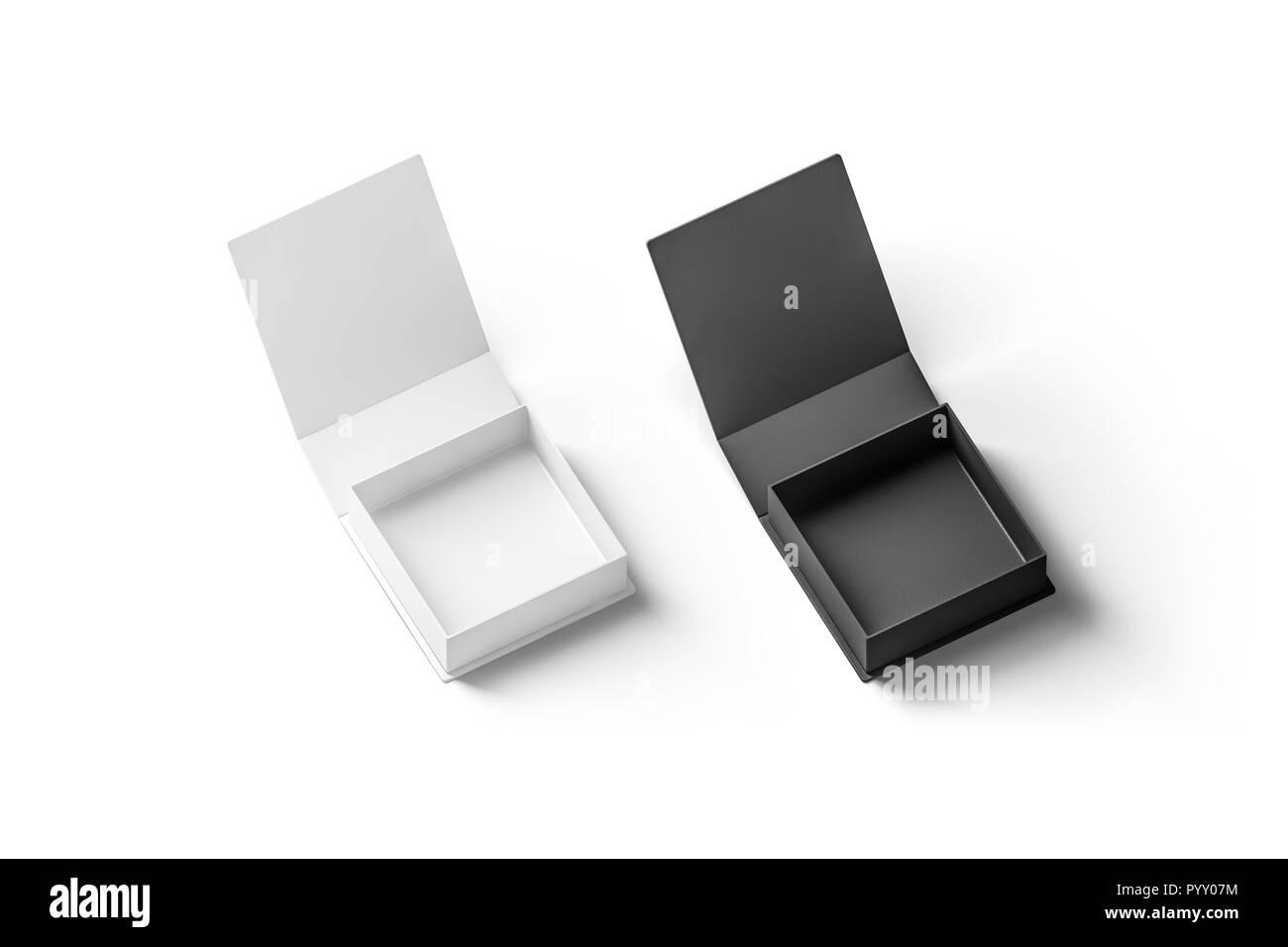 Blank Black And White Opened Gift Box Mockup Set Isolated 3d
