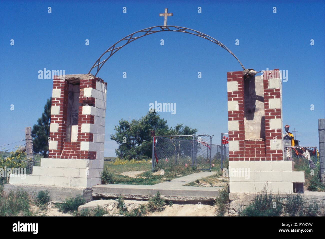 Graveyard for Wounded Knee Massacre victims, Pine Ridge Sioux Reservation, South Dakota. Photograph Stock Photo