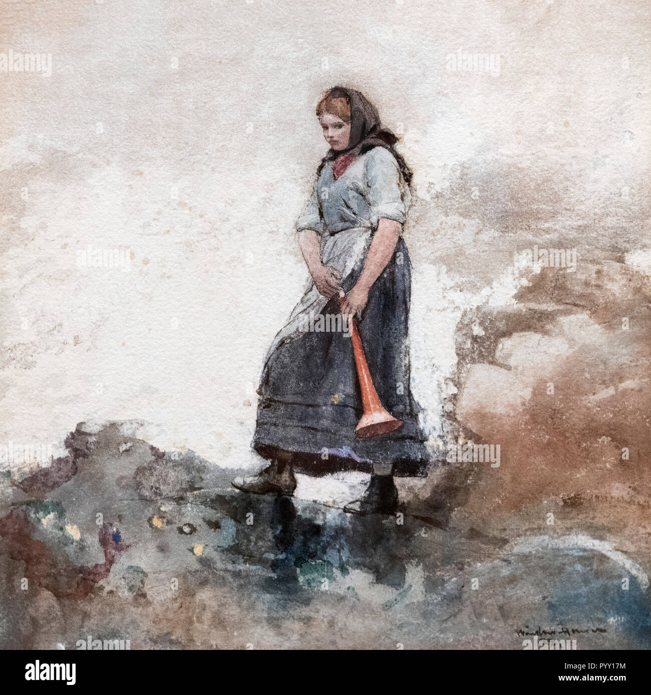 The Coastguard's Daughter by Winslow Homer (1836-1910), watercolor on paper, 1881 - Stock Image