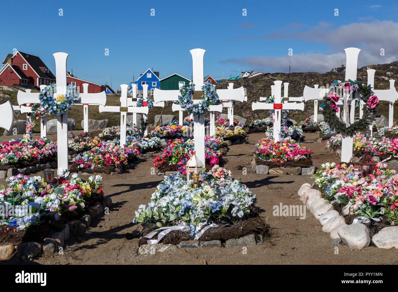 Qeqertarsuaq Cemetery, Greenland - Stock Image