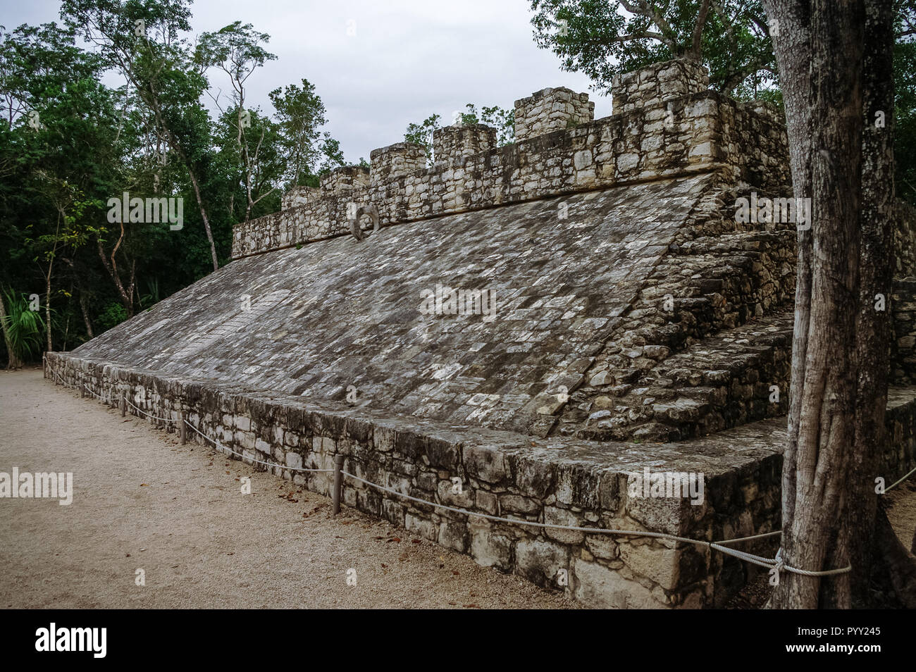 Ball court at the ruins of the Mayan city Coba, Mexico - Stock Image