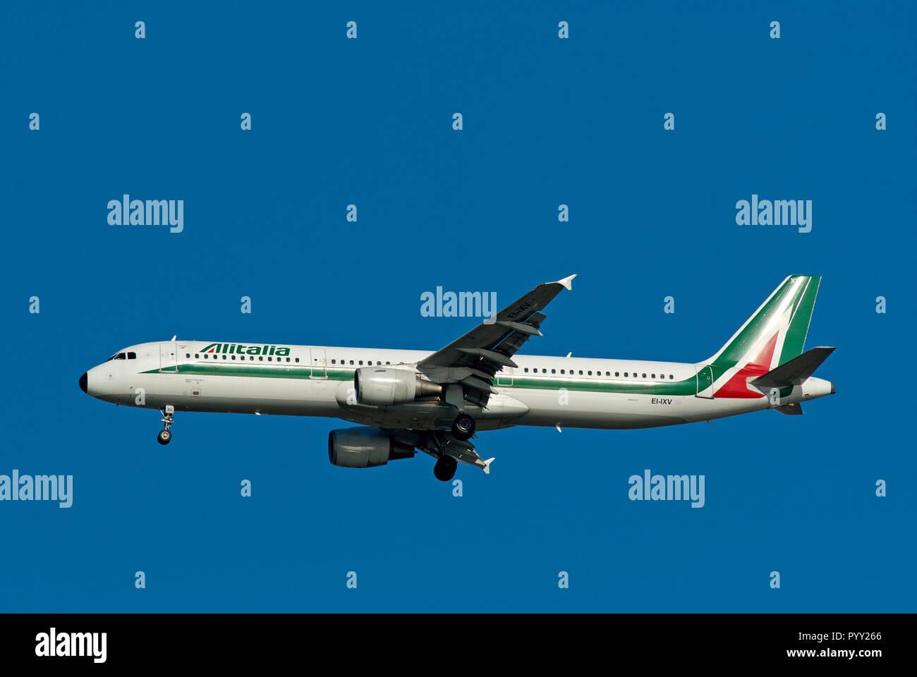 Alitalia Airbus A321 in flight near Fiumicino Airport, Rome, Lazio, Italy - Stock Image
