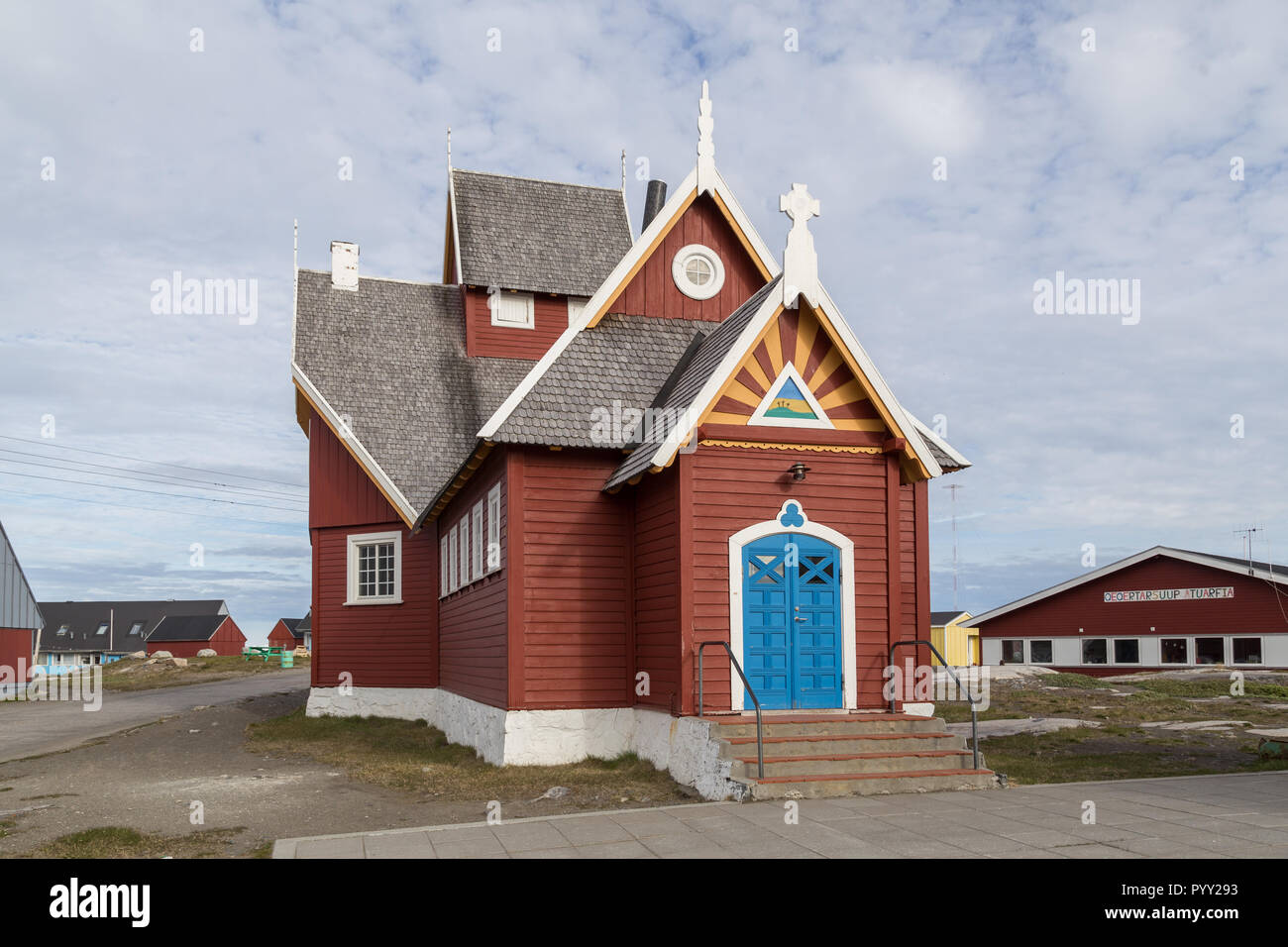 Church in Qeqertarsuaq, Greenland - Stock Image