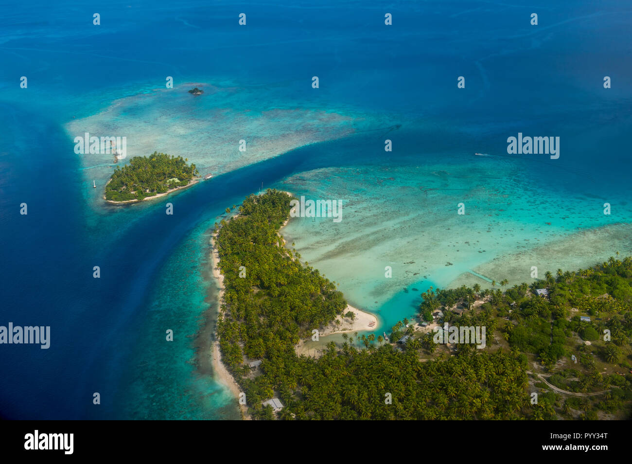 Aerial of Rangiroa, Tuamotu-Archipel, French Polynesia - Stock Image